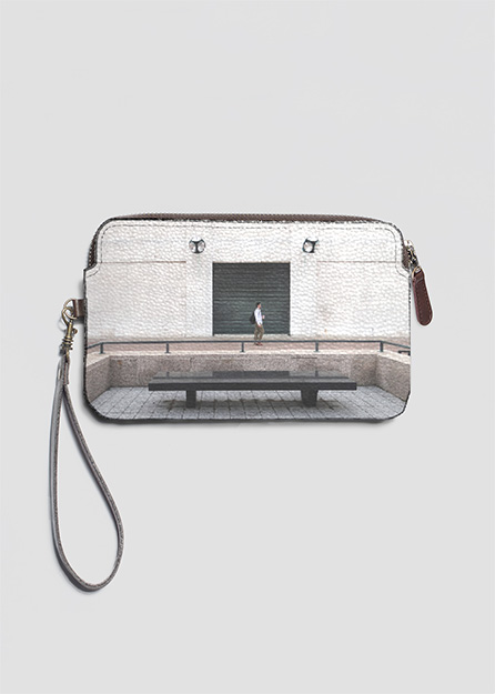 LEATHER STATEMENT CLUTCH ARTWORK: New York (earth)